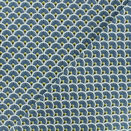 Cretonne cotton Fabric Eventails dorés - petrol x 10cm