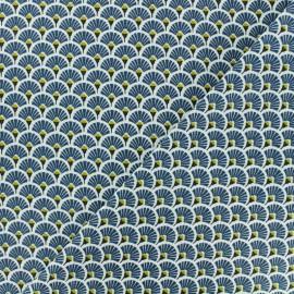 Tissu coton crétonne Eventails dorés - pétrole x 10cm