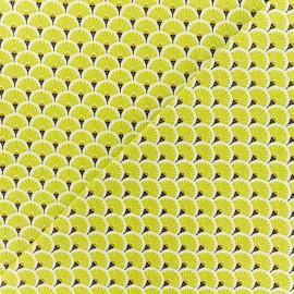 Tissu coton crétonne Eventails dorés - jaune x 10cm