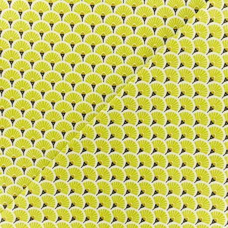 Cretonne cotton Fabric Eventails dorés - yellow x 10cm