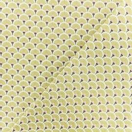 Tissu coton crétonne Eventails dorés - or x 10cm