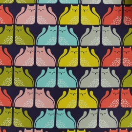 Cotton Dashwood fabric - Navy Cool for cats x 10cm