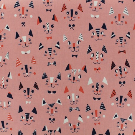 Cotton Dashwood fabric - Off-white graphic Cool for cats x 10cm