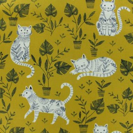 Tissu coton Dashwood Cool for Cats - jaune x 10cm