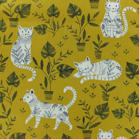 Tissu coton Dashwood Cool for Cats - rose x 10cm