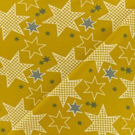 Stenzo Jersey cotton fabric - mustard stars x 10cm