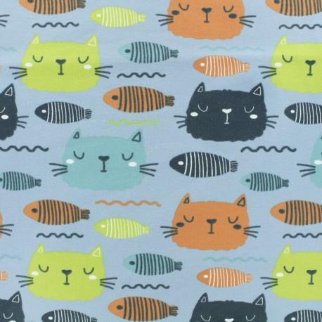 Tissu coton jersey Stenzo Fish'n cat - bleu x 10cm