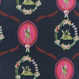 Tissu coton jersey Stenzo Médaillon Bambi - marine x 10cm