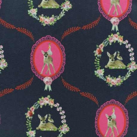 Stenzo Jersey cotton fabric - navy médaillon Bambi x 10cm