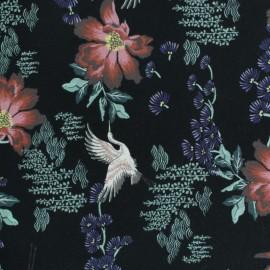 Tissu coton jersey Stenzo grue - bleu nuit x 10cm