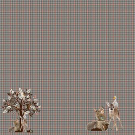 Stenzo Jersey cotton fabric - night blue Crane x 100cm