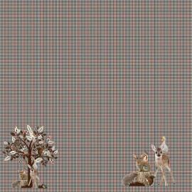 Stenzo Jersey cotton fabric - night blue Crane x 10cm