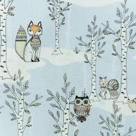 Tissu coton - Woodland winter - bleu x 10 cm