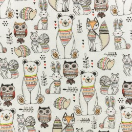 Cotton fabric - white Woodland animal x 10cm