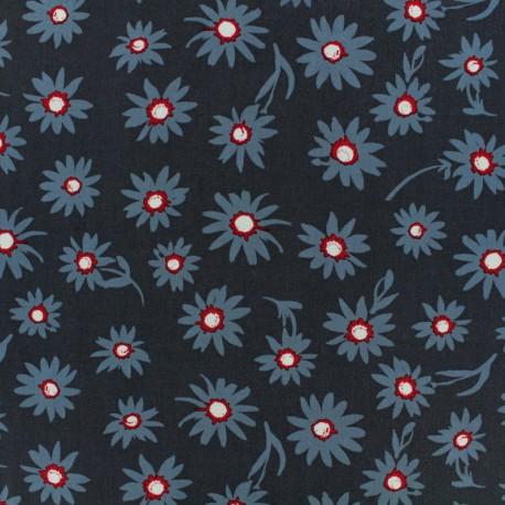 Tissu rayonne AGF Flower Glory - bleu x 10cm