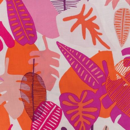 Tissu rayonne AGF Jungle radiant - rose x 10cm