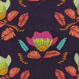 ♥ Coupon 40 cm X 135 cm ♥  AGF Rayon fabric - Purple Pressed ablossom royal