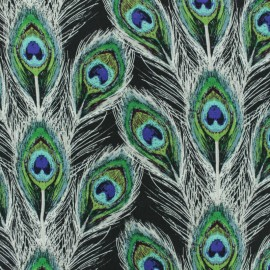 Tissu rayonne AGF Paon Plumes Royal  - vert x 10cm