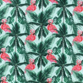 Popeline cotton fabric - Turquoise Tropicanimal x 10cm