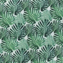 Tissu Popeline de coton Wild D -Blanc/vert x 10cm