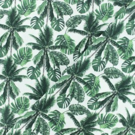 Tissu Popeline de coton Palmtree - Blanc/vert x 10cm