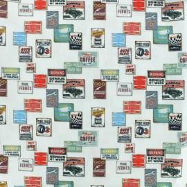 Tissu Popeline de coton Garage - Blanc x 10cm
