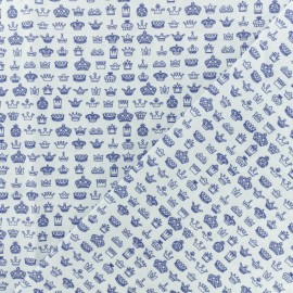 Popelin cotton fabric - White Crown x 10cm