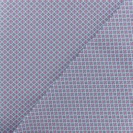 Tissu Popeline de coton Blue Tiles - Blanc x 10cm
