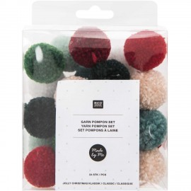 Pack of 24 Woolen Pompoms - Christmas Classic