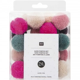 Pack of 24 Woolen Pompoms - Christmas Pastel