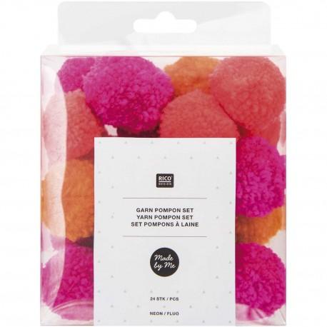 Pack of 24 Woolen Pompoms - Neon