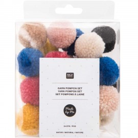 Pack of 24 Woolen Pompoms - Natural