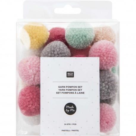 Pack of 24 Woolen Pompoms - Pastel