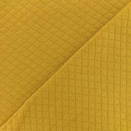 Quilted jersey fabric Diamonds 10/20 - Curry x 10cm