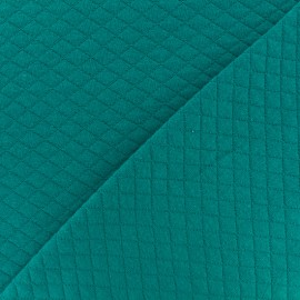 Quilted jersey fabric Diamonds 10/20 - lagoon x 10cm