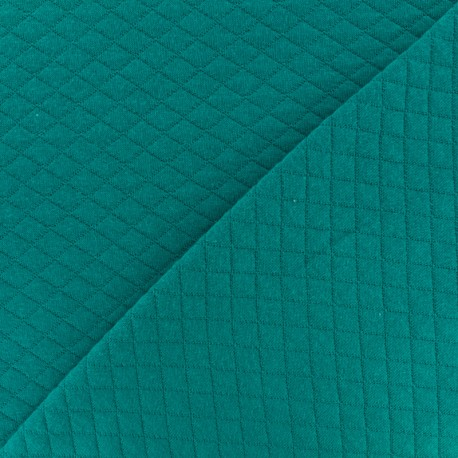 Tissu jersey matelassé losanges 10/20 - Lagon x 10cm