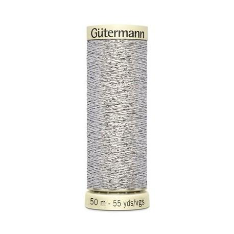Bobine fil Gütermann Lurex 50 m- Argent