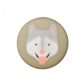 20 mm Polyester Button - Khaki Husky