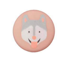20 mm Polyester Button - Pink Husky