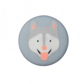20 mm Polyester Button - Blue Grey Husky