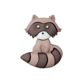 22 mm Polyester Button - Taupe Raccoon