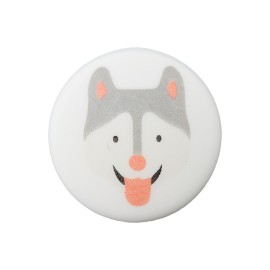 20 mm Polyester Button - White Husky