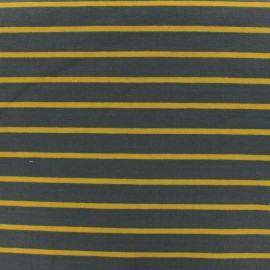 French Terry jersey fabric mustard stripes - grey x 10cm