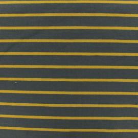 Tissu Sweat léger rayé moutarde - gris x 10cm