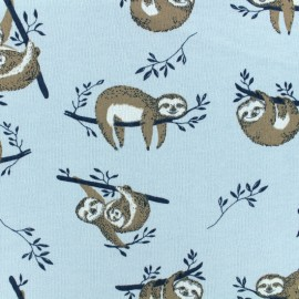 Tissu Poppy sweat Paresseux - bleu x 10cm