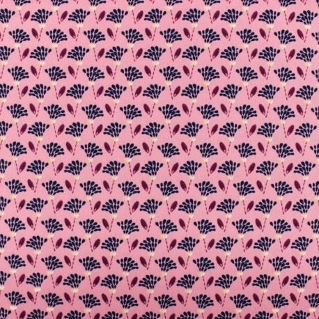 Tissu polyester satiné Flowers Pearl Peach by Penelope® - vieux rose x 10cm