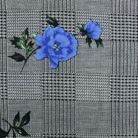 Tissu Viscose Princesse Eugénie - bleu x 10cm