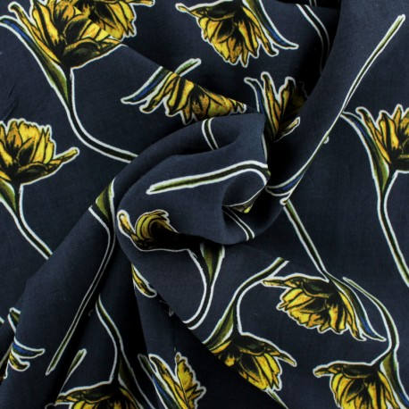 Viscose Fabric - Blue Charlotte x 10cm