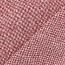 Tissu toile coton chambray - Rubis x 10cm