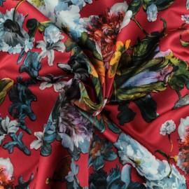 Tissu satin polyester Sidonie - Rouge x 50cm